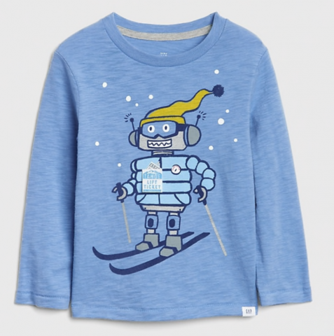 I am so in love with these interactive graphic tees Gap has right now. I don't know who loves it more, me or Henry?