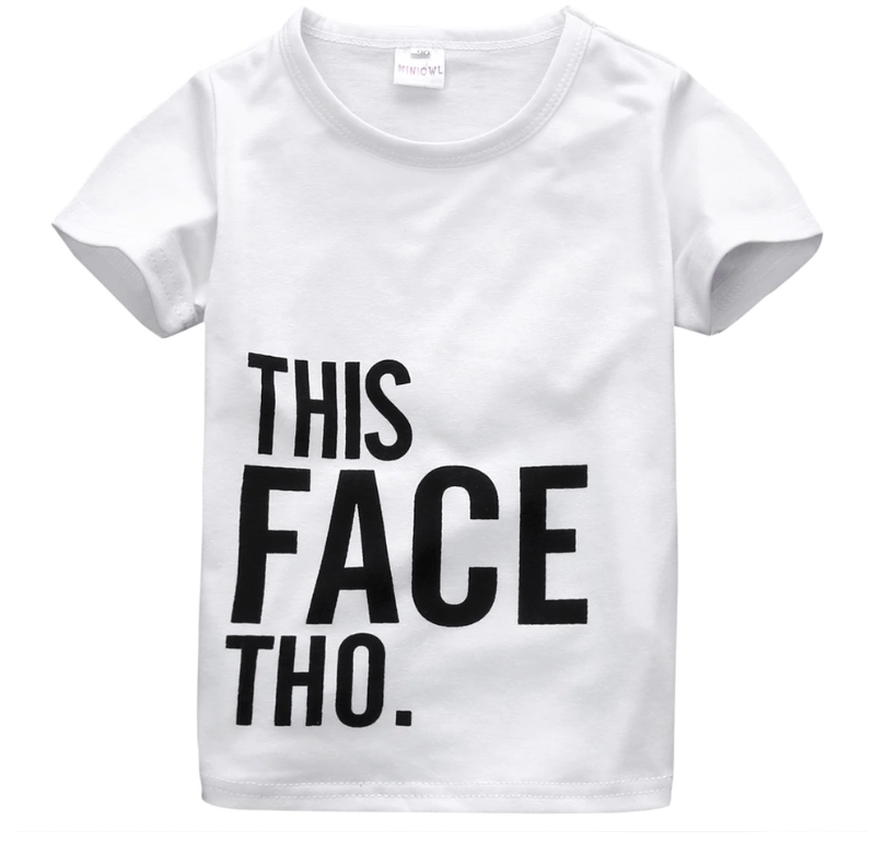 This face tho shirt comes with pants to match as well. I love the modern spin on this tee.